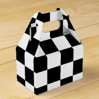 Black and White Checkered Flag Boys Party Gift Box