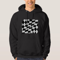 Black And White Checkered Flag Mens Hoodie