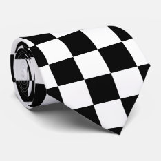 Black And White Checkered Flag Tie at Zazzle