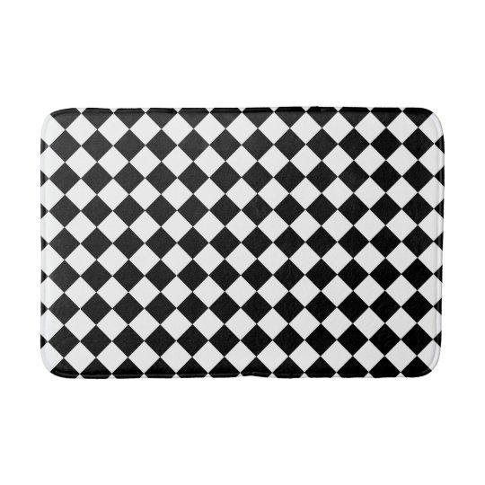 Checkered Bath Rug: Black And White Checkered Foam Bath Mat
