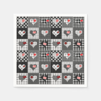 black and white checkered paper napkins