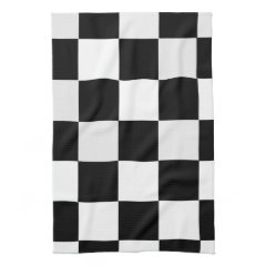 Black and White Checkered Hand Towels