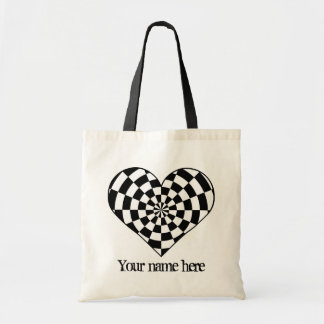 black and white checkered heart tote bag