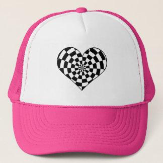Black and white checkered heart trucker hat