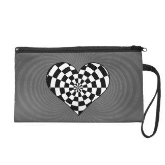 Black and white checkered heart wristlet