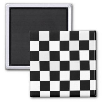 Black and White Checkered Refrigerator Magnet