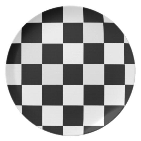 Black and White Checkered Melamine Plate