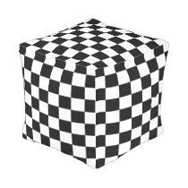 Black and White Checkered Outdoor Pouf