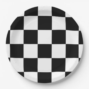 Black and White Checkered Paper Plate  sc 1 st  Zazzle & Black And White Checkered Plates | Zazzle