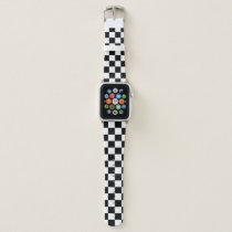 Black And White Checkered Pattern Apple Watch Band