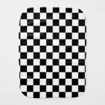 Black and white checkered pattern baby burp cloth