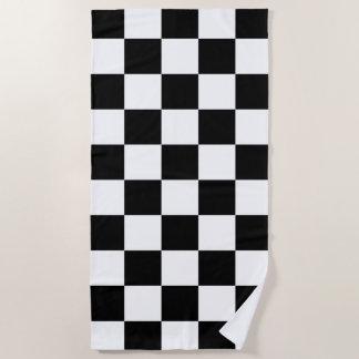 Black and White Checkered Pattern Beach Towel