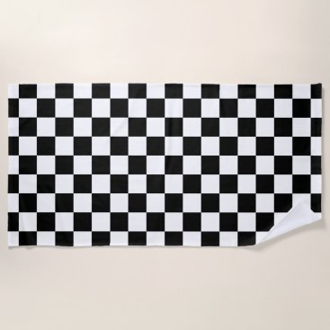 Beach Themed Black and White Checkered Pattern Beach Towel
