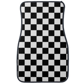 Black and white checkered pattern car floor mat