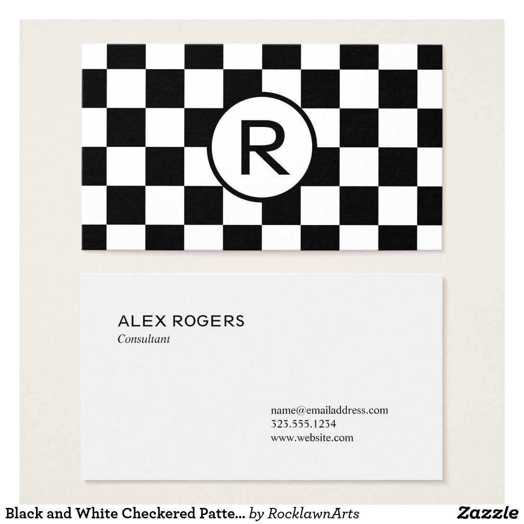 Black and White Checkered Pattern, Custom Monogram Business Card