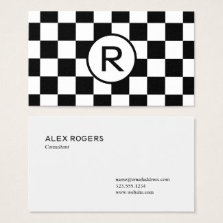 Black and White Checkered Pattern, Custom Monogram Business Card