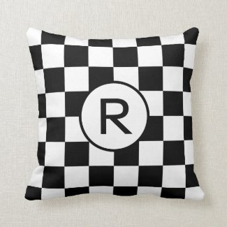 Black and White Checkered Pattern, Custom Monogram Throw Pillow