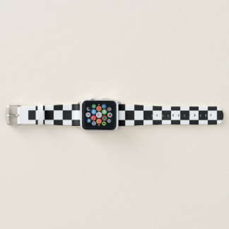 Black and White Checkered Pattern Design Apple Watch Band