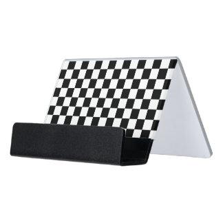 Black and white checkered pattern desk business card holder