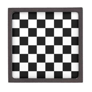 Black and White Checkered Pattern Gifts Premium Trinket Box