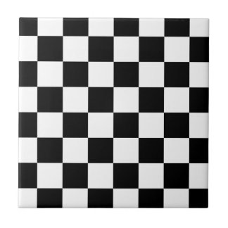 Black and White Checkered Pattern Gifts Tile