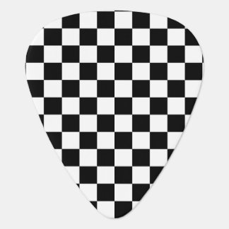 Black and white checkered pattern guitar pick