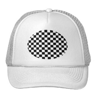 Black and white checkered pattern trucker hat