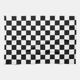 Black and white checkered pattern hand towel