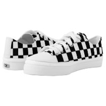 Black and White Checkered Pattern Low-Top Sneakers