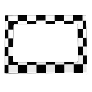 Black and White Checkered Pattern Magnetic Photo Frame