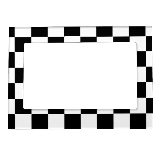 black and white decor black and white checkered pattern magnetic photo frame 11740
