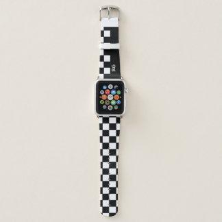 Black And White Checkered Pattern Monogram Apple Watch Band