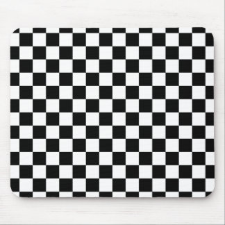 Black and white checkered pattern mouse pad