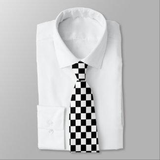 Black And White Checkered Pattern Necktie