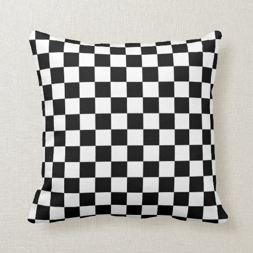 Black and white checkered pattern pillow