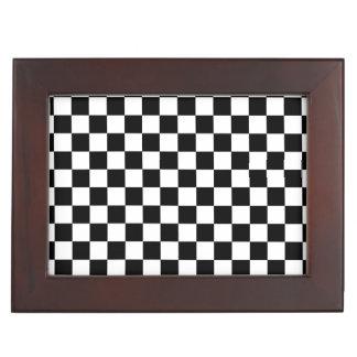 Black and white checkered pattern memory box