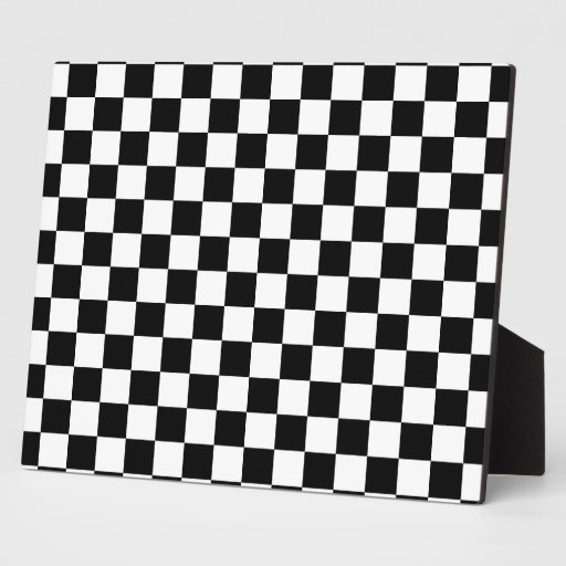 Black and white checkered pattern plaque