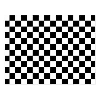 Black and white checkered pattern postcards