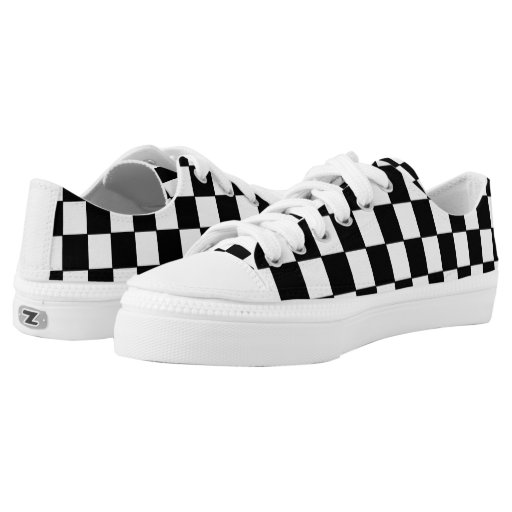 black and white checkered pattern printed shoes zazzle