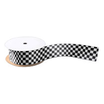 Black And White Checkered Pattern Satin Ribbon