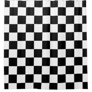"""Details about  /Checkered Grid Pattern Black White Fabric Shower Curtain Set Bathroom Decor 72/"""""""