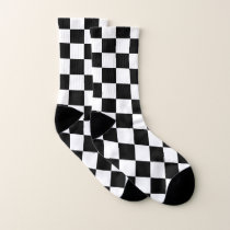Black and White Checkered Pattern Socks