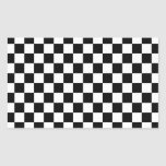 Black and white checkered pattern rectangular sticker