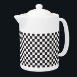 "Black And White Checkered Pattern Teapot<br><div class=""desc"">Black And White Checkered Pattern Teapot</div>"