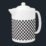 "Black And White Checkered Pattern Teapot<br><div class=""desc"">Black And White Checkered Pattern Teapot</div>"