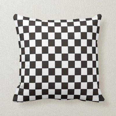 Black White Checkered Red Stripe Throw Pillow Zazzlecom