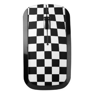 Black and White Checkered Pattern Wireless Mouse
