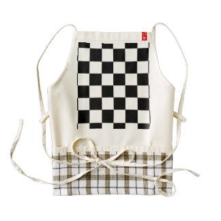 Black and white checkered pattern zazzle HEART apron