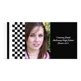 Black and White Checkered Personalized Photo Card
