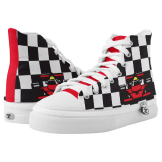 Black and White Checkered Race Car Design Sneakers Printed Shoes